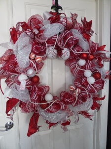 Extra Large Red And White Christmas Wreath Home Decor Wreaths