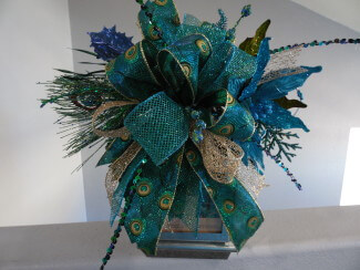 Peacock Christmas Lantern Swag Or Christmas Tree Topper Home Decor