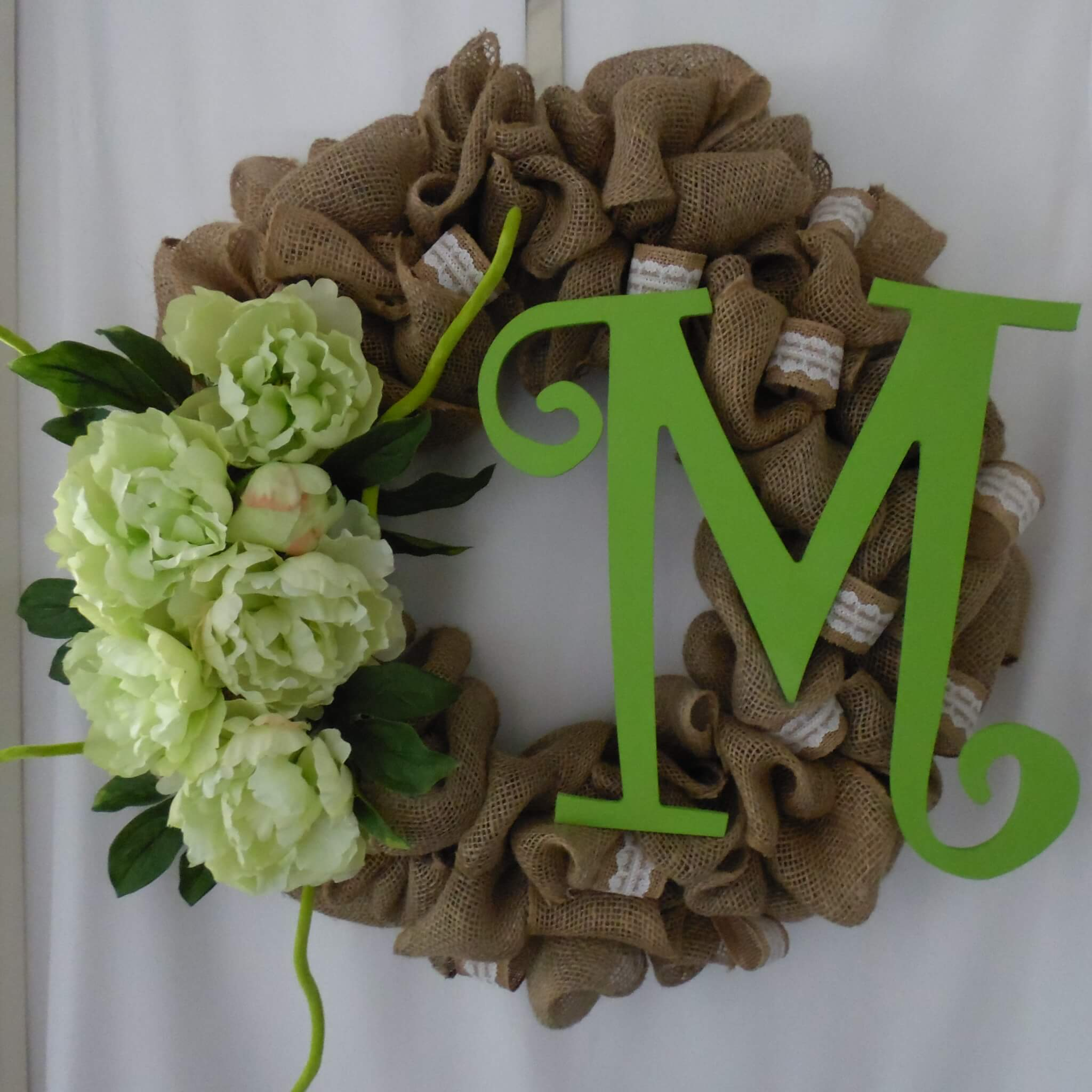 Spring Burlap Wreath With Monogram From A To Z Home