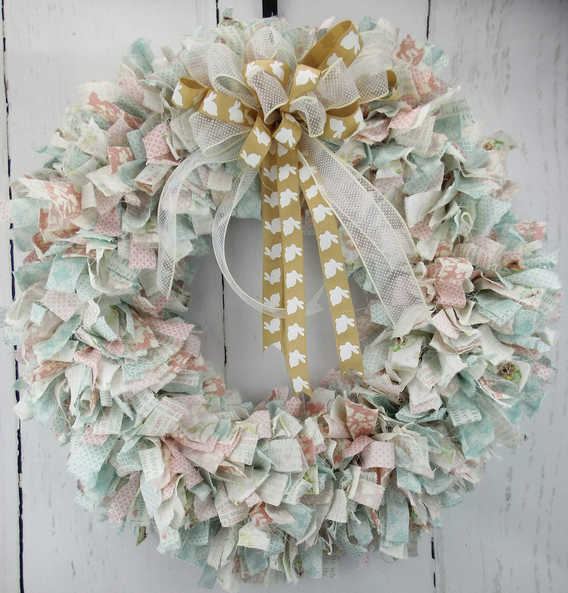 Blue And Pink Easter Fabric Wreath Home Decor Wreaths