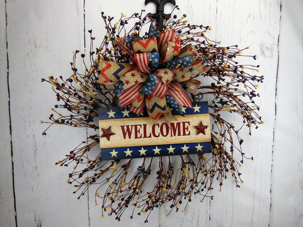 A patriotic home decorating theme wreaths garland for Patriotic welcome home decorations