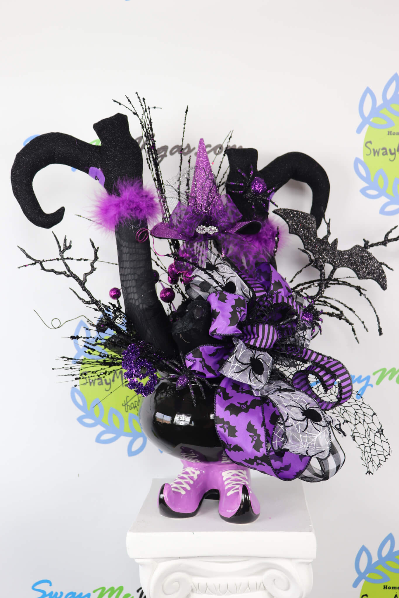 Witch-Cauldron-Halloween-Centerpiece-Black-Purple-Crow-12 Witch Cauldron  Centerpiece 2018