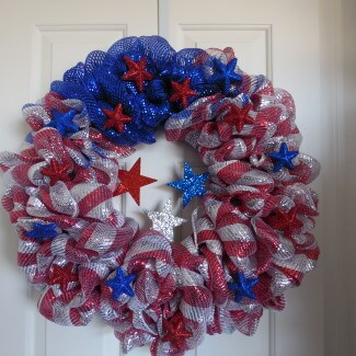 Patriotic Wreath Red White & Blue