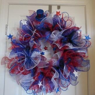Patriotic Fireworks Explosion Wreath