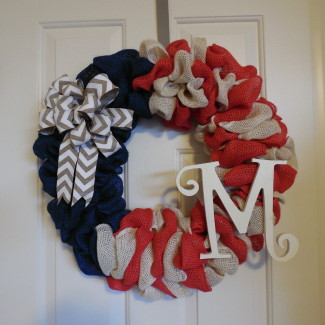 Patriotic Burlap Wreath Monogram Wreath