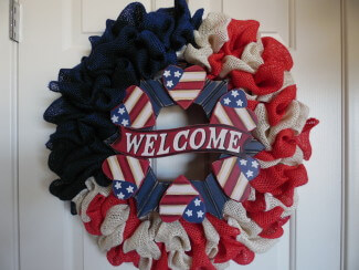 Welcome Patriotic Burlap Wreath
