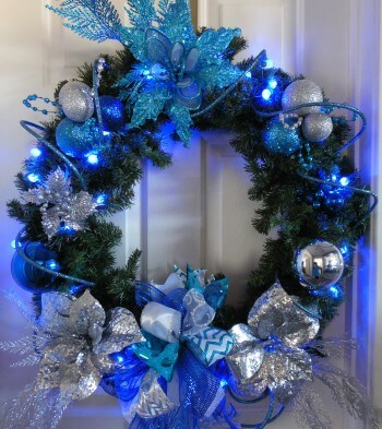 Lighted Blue Silver and Turquoise Christmas Wreath