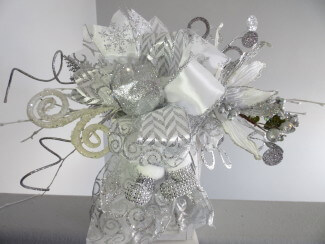 Silver and White Christmas Lantern Swag or Christmas Tree Topper