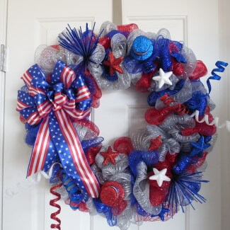 Red White and Blue Ribbon Wreath