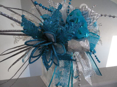 Silver White and Turquoise Lantern Swag or Tree Topper
