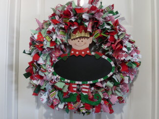 Christmas Elf Rag Wreath