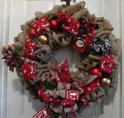 Burlap Christmas Holiday Decor Reindeer Wreath
