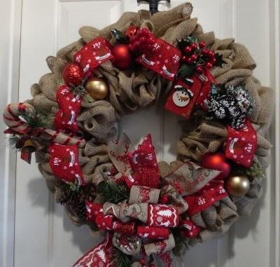 Burlap Christmas Holiday Decor Reindeer Wreath