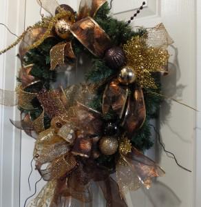 SAM_2578-292x300 Christmas Holiday Peacock Bronze Golden Home Decor Wreath