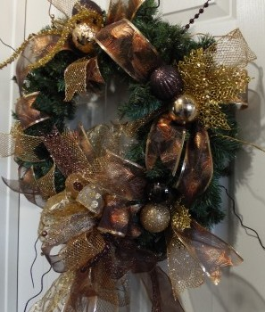 Christmas Holiday Peacock Bronze Golden Home Decor Wreath
