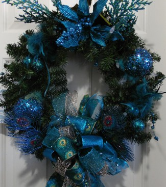 Christmas Holiday Peacock Evergreen Wreath