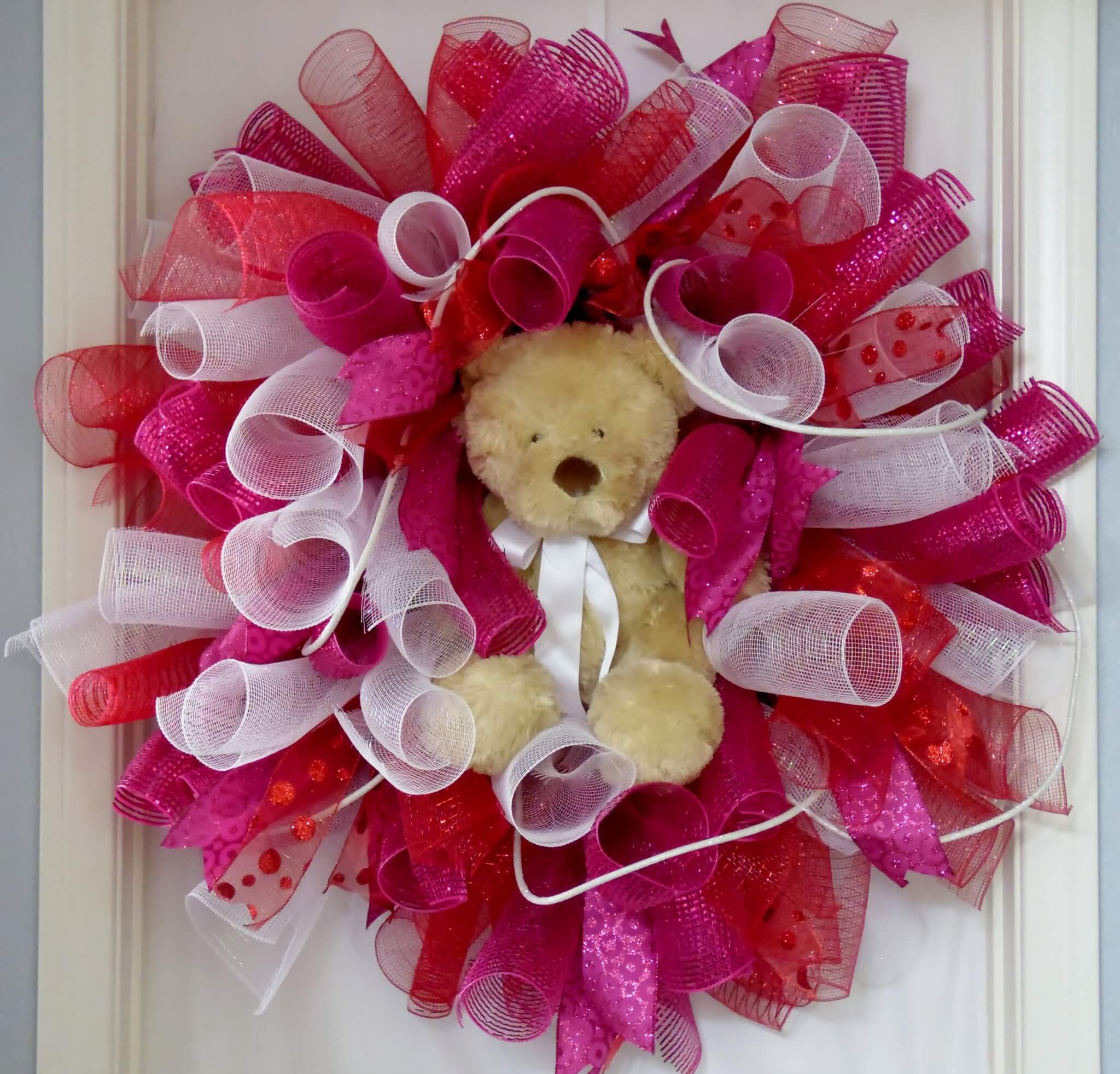 Valentine's Day Spiral Wreath Teddy Bear