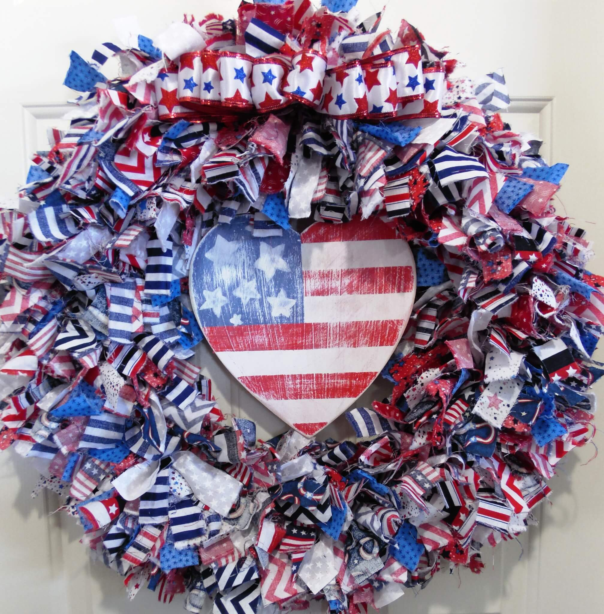 Hand Painted American Flag Rag Wreath