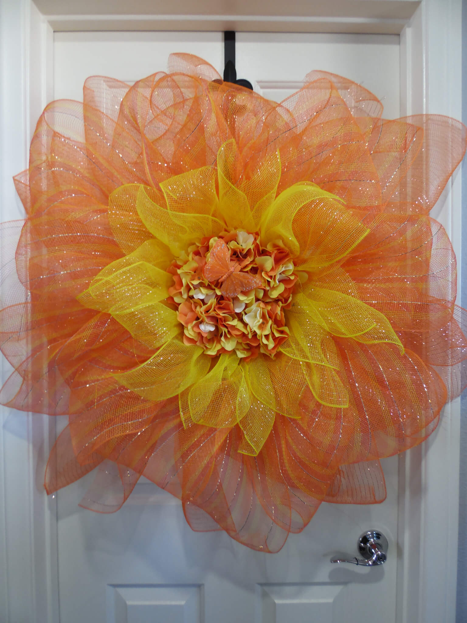 Orange and Yellow Deco mesh Sunflower Wreath with Hydrangea's