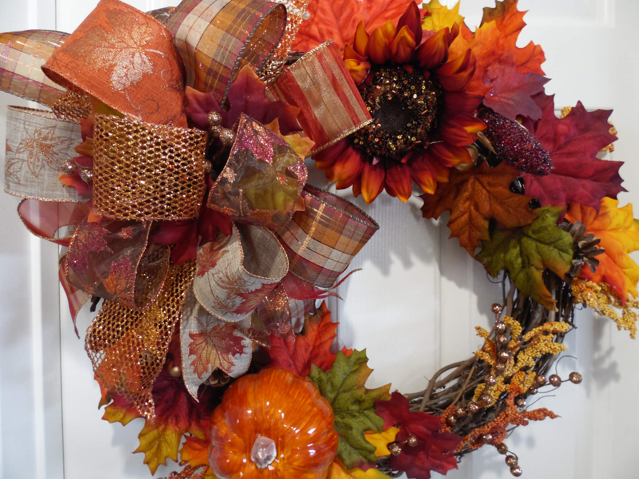 Fall Sunflower Grapevine Pumpkin Wreath 1