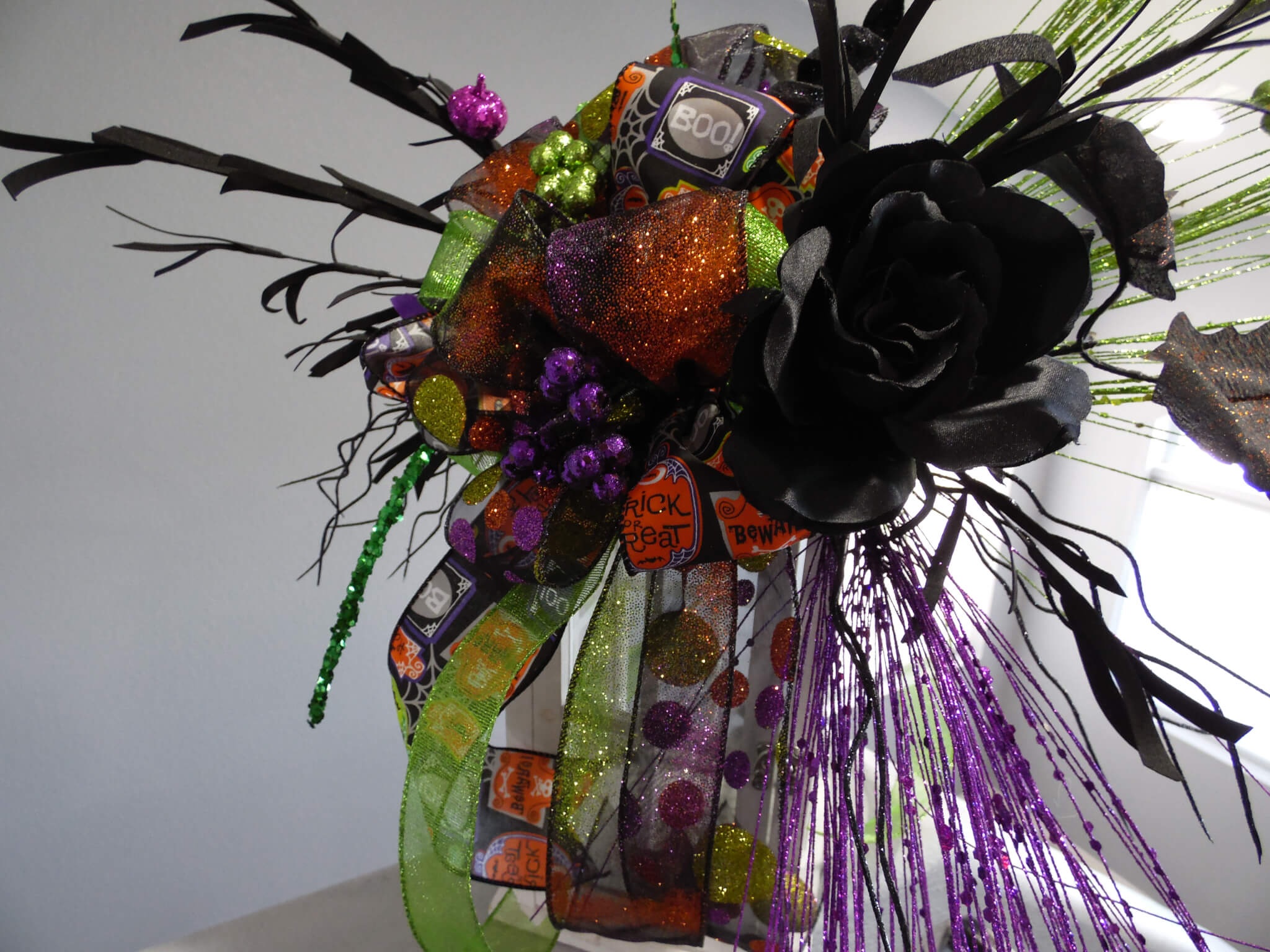 Halloween Black Rose Swag