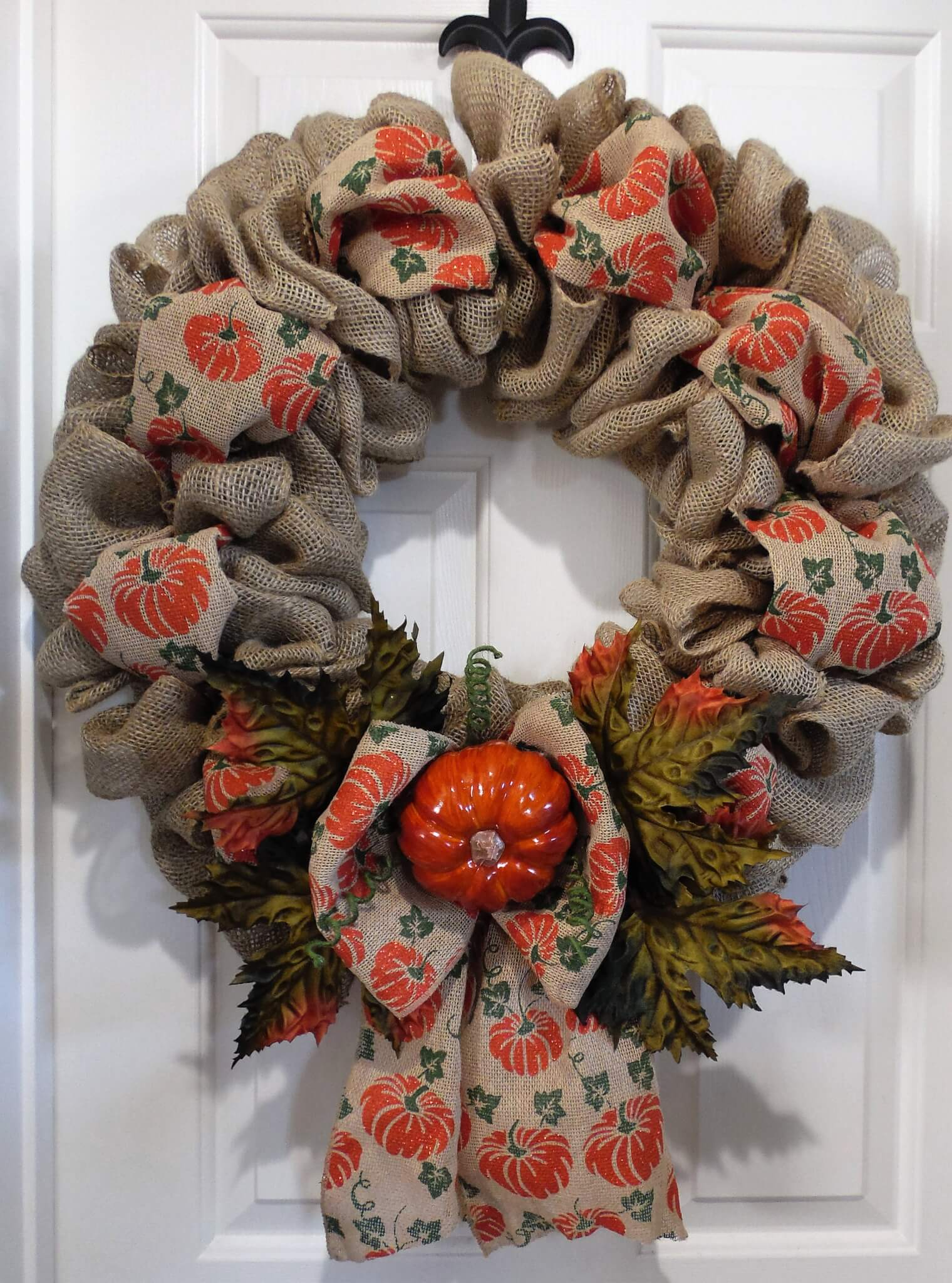 Pumpkin Burlap Fall Wreath