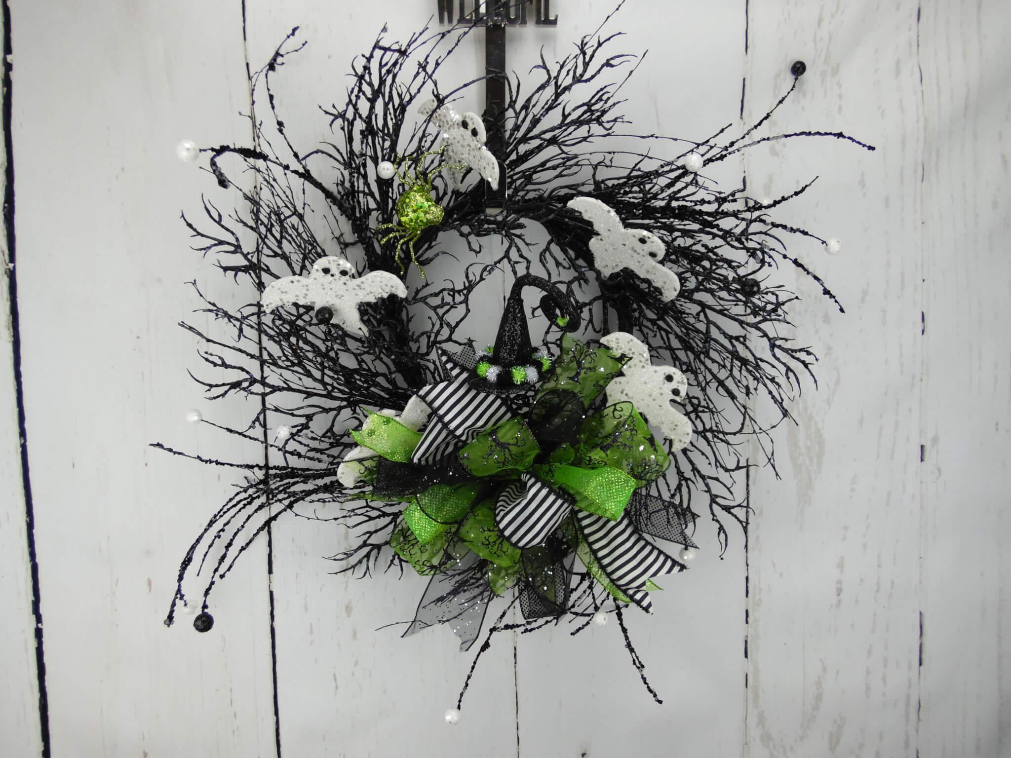 Halloween Spooky Ghost Twig Wreath