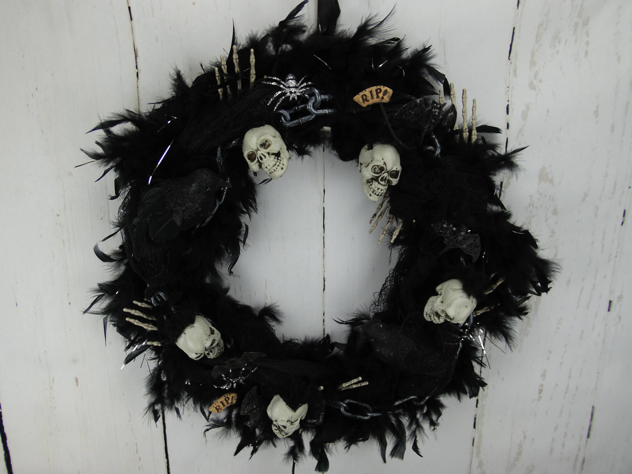 Halloween Skull and Chains Feather Wreath