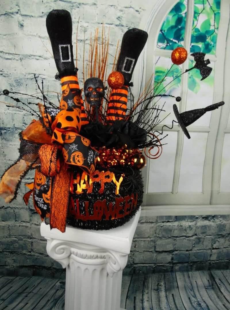 Halloween Witch Leg Cauldron Centerpiece