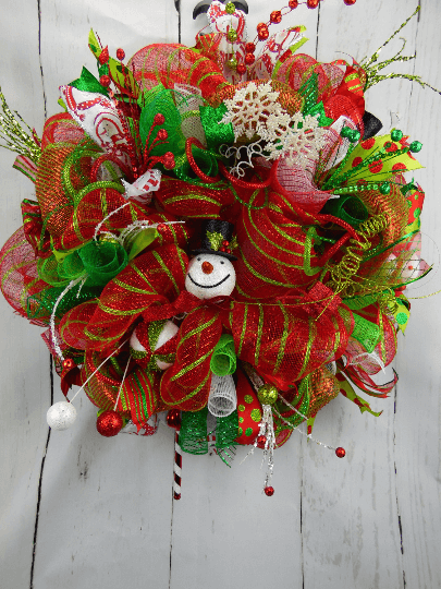 Red and Green Snowman Christmas Wreath