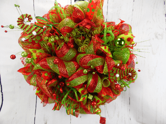 Elf Red and Green Christmas Wreath