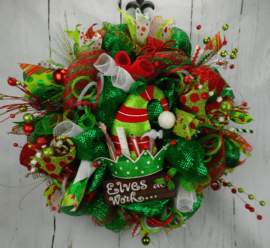 Elves at Work Christmas Wreath