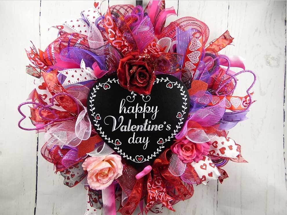 Valentines Day Deco Mesh Wreath
