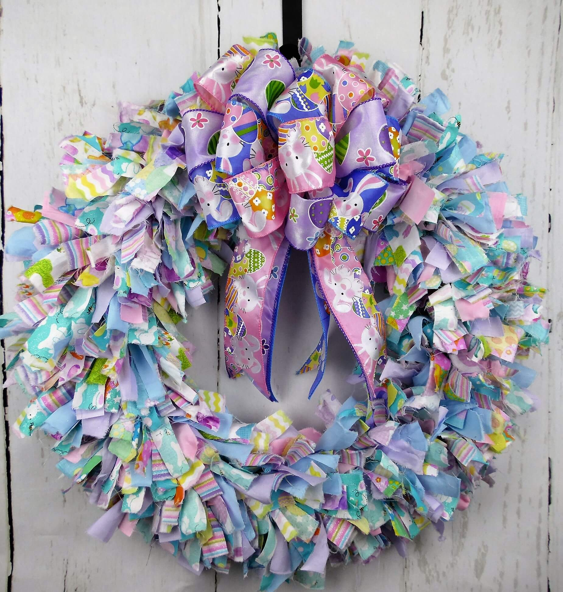 Easter Pastel Fabric Rag Wreath