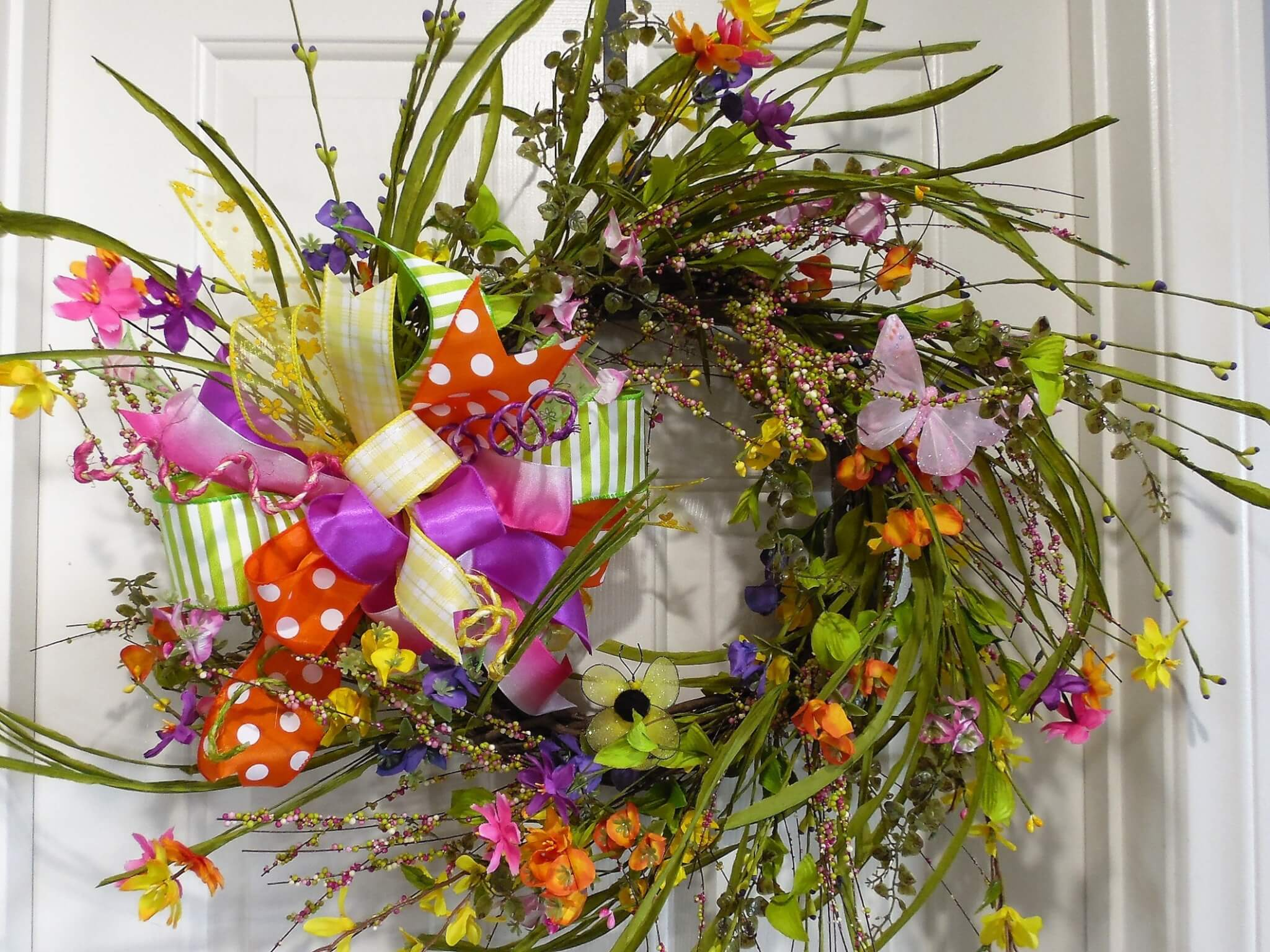 Springtime Grapevine Wreath with Bow and Flowers