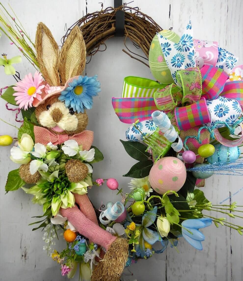 Easter Bunny Grapevine Wreath Home Decor Wreaths