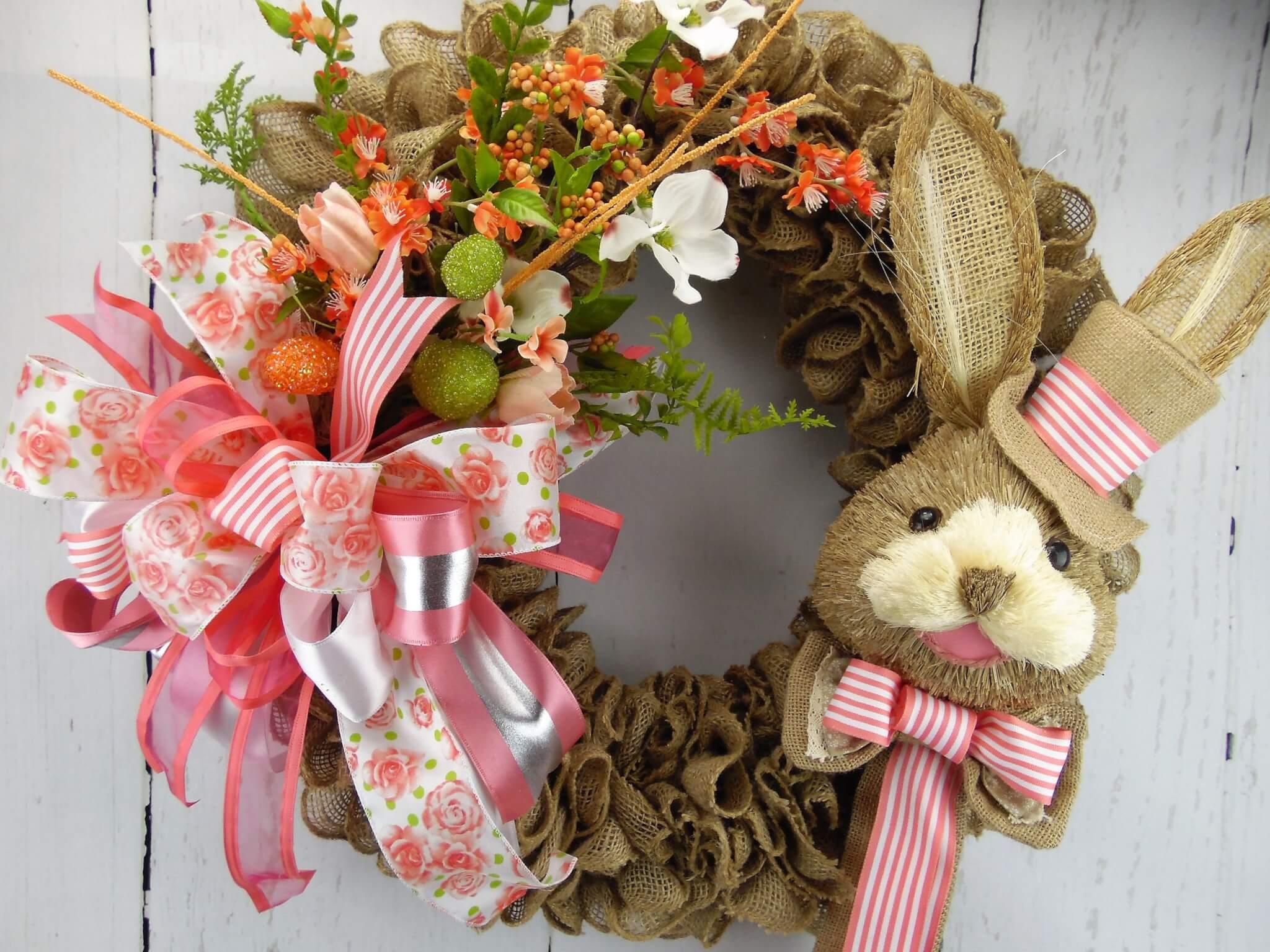 Peach Bunny Burlap Wreath