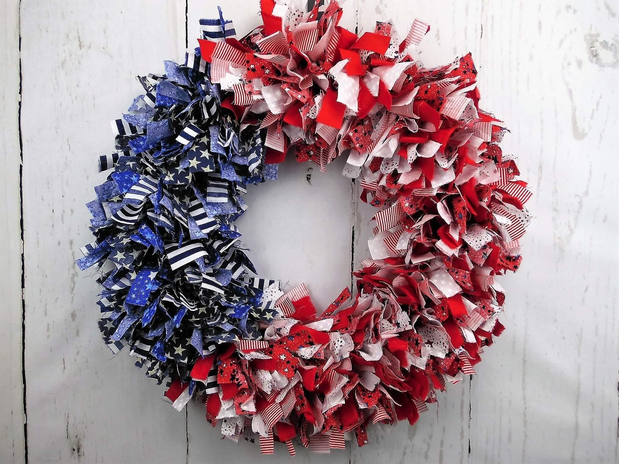 American Flag Rag Wreath