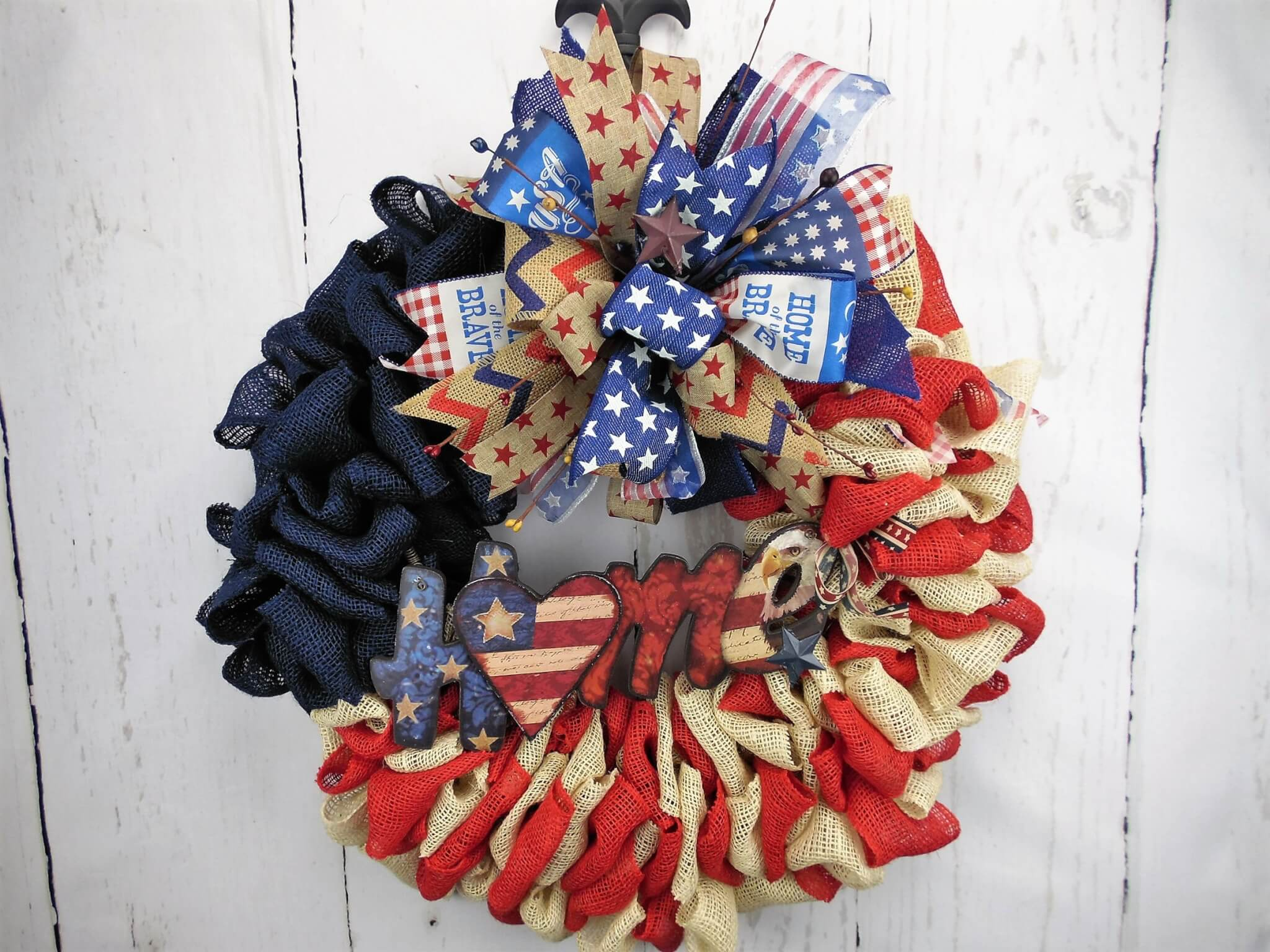 Burlap Patriotic Home Wreath