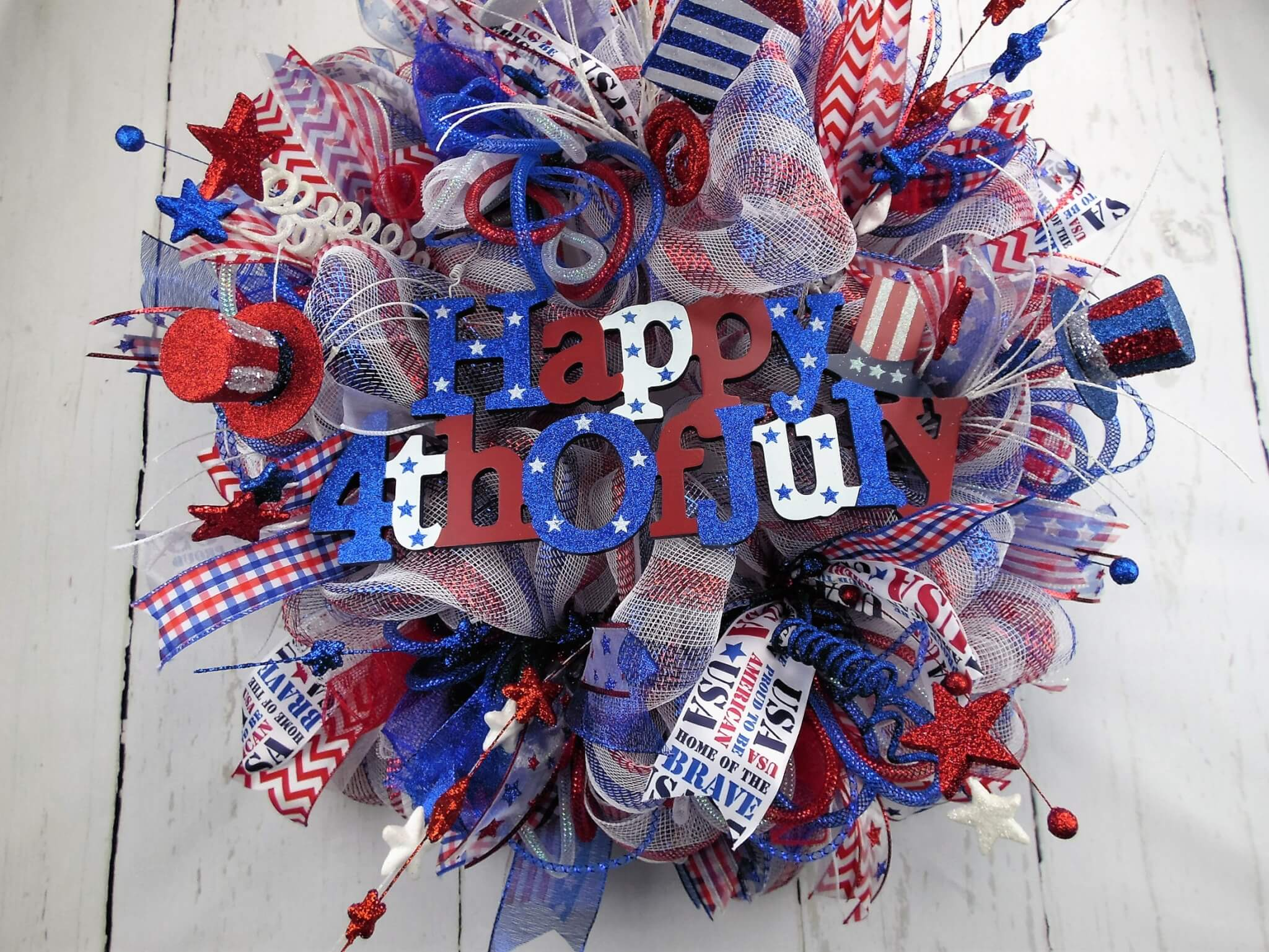 Patriotic Stars and Stripes Deco Mesh 4th of July Wreath