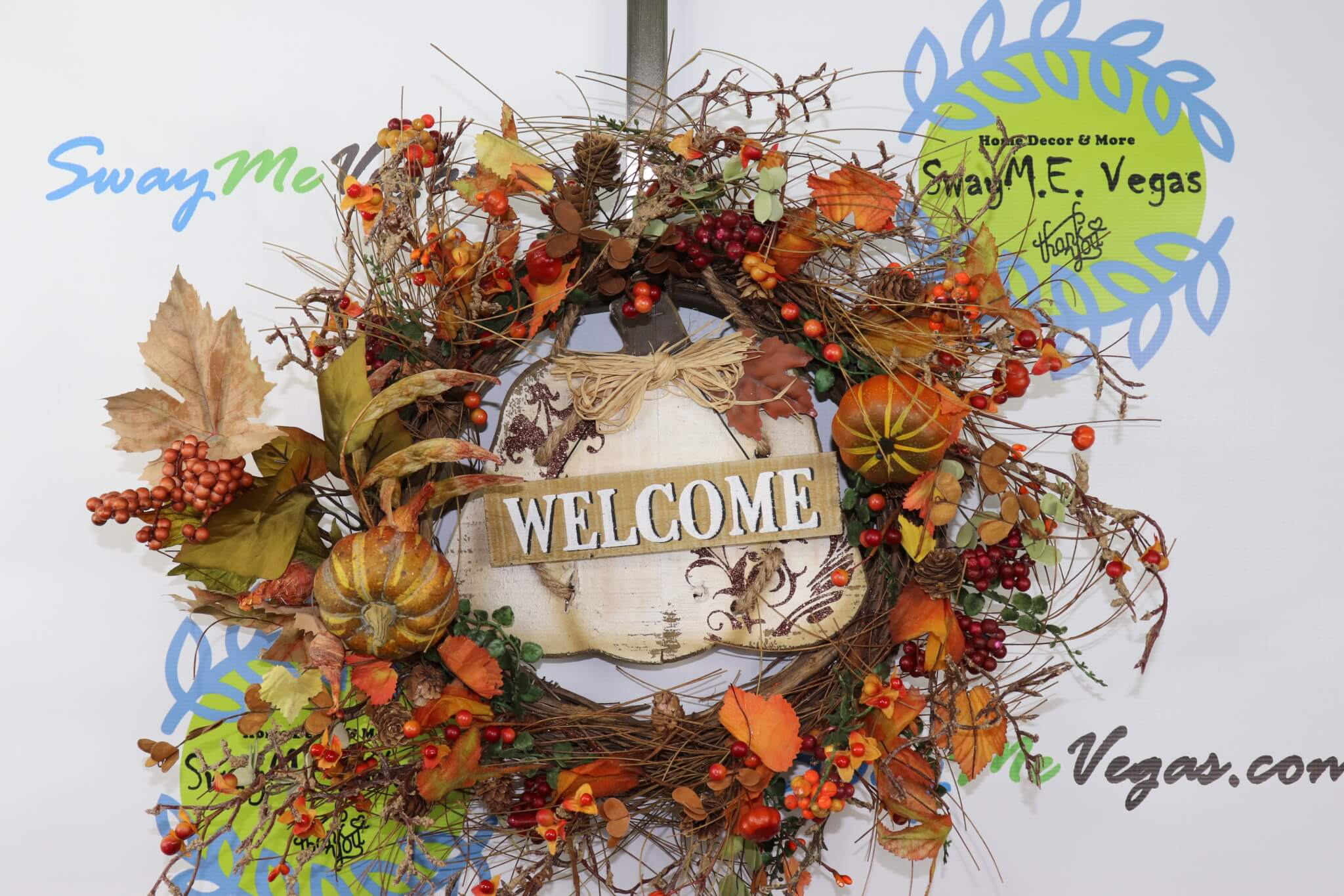 Harvest Garden Natural Welcome Grapevine Wreath