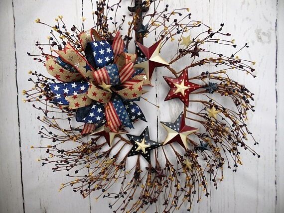 Stars and Stripes Pip Berry Wreath Rustic