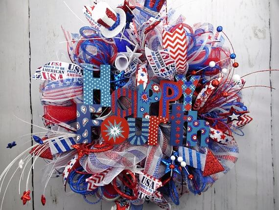 Happy Fourth Deco Mesh Wreath