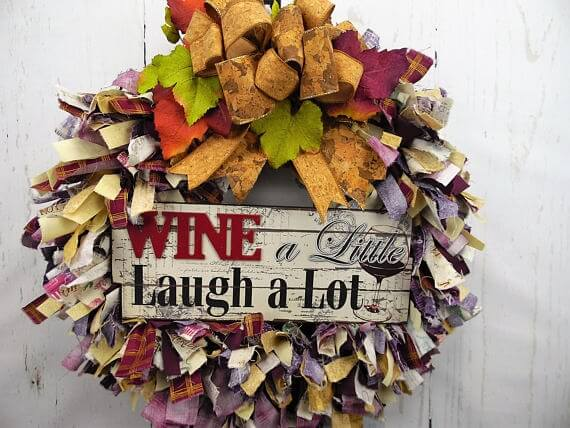 Wine A Little Fabric Rag Wreath