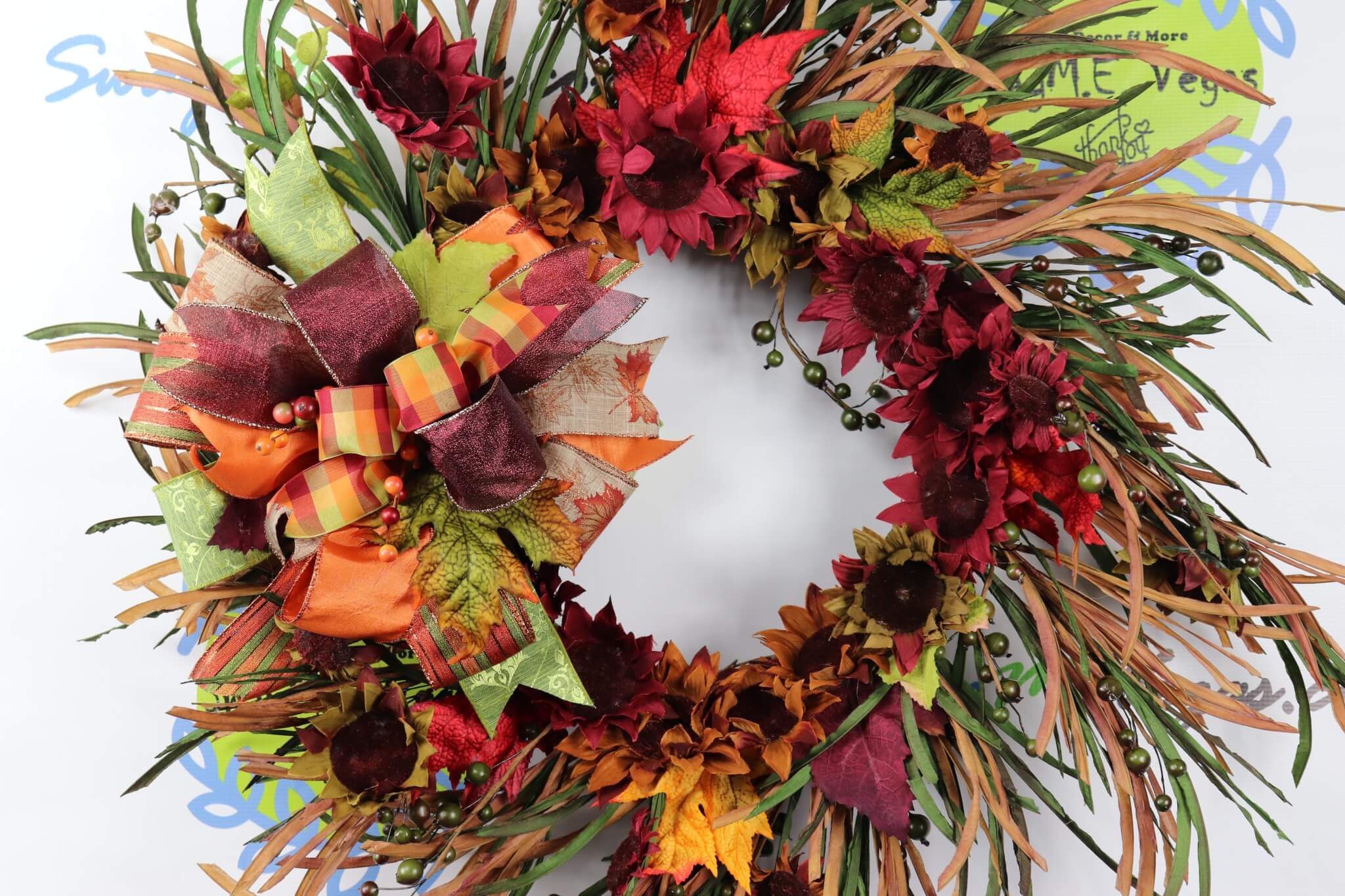 Autumn Fall Burgundy Orange and Green Grapevine Sunflower Wreath
