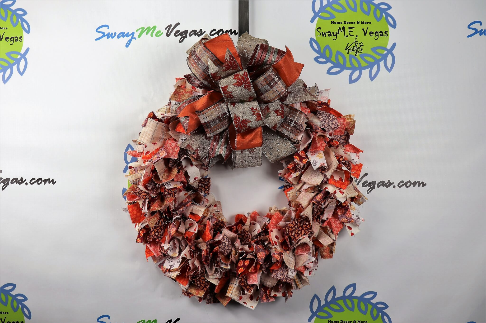Fabric Rag Wreath for Fall Burlap Bow