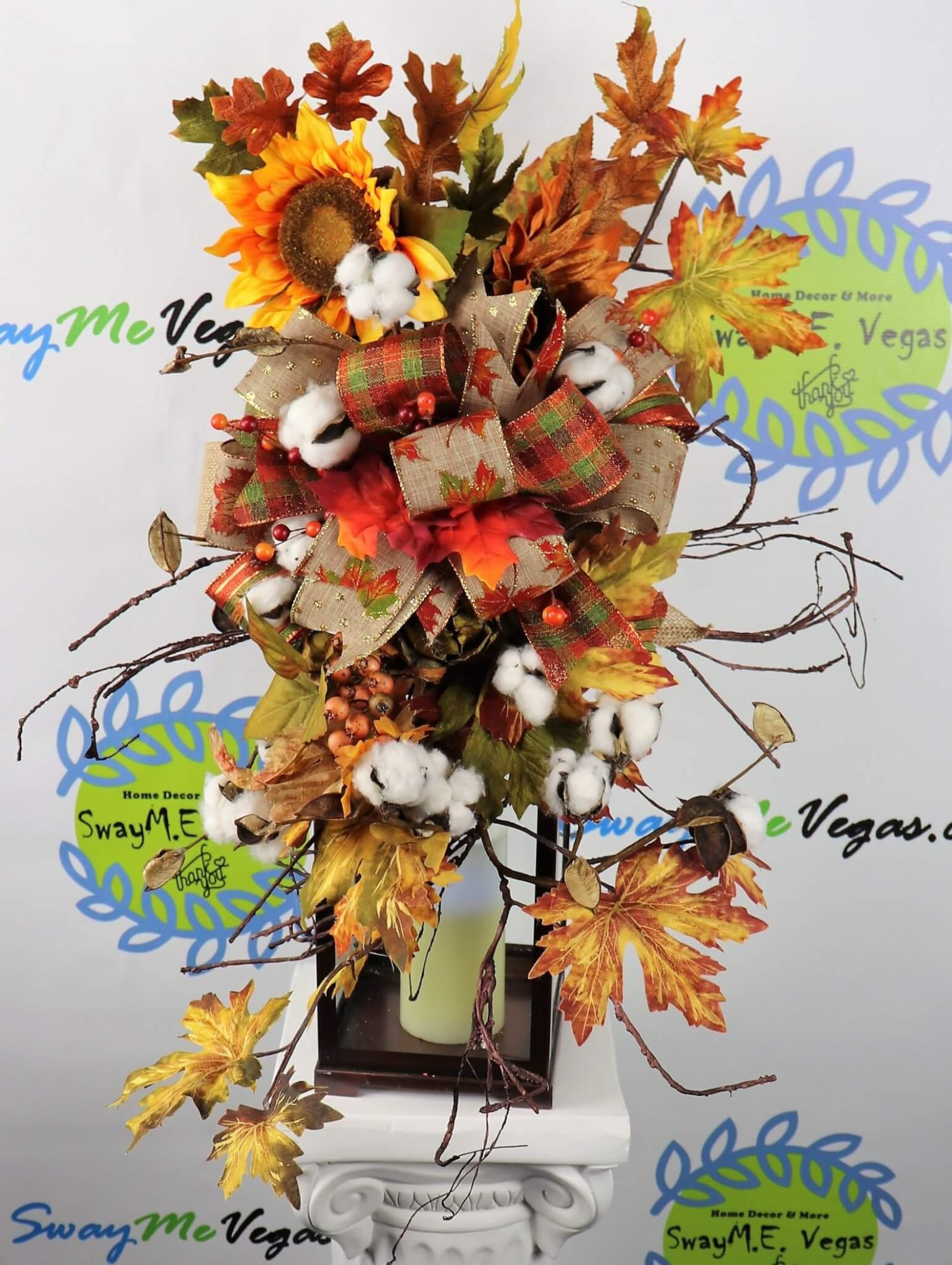 Fall Cotton Sunflower Autumn Lantern Swag Centerpiece