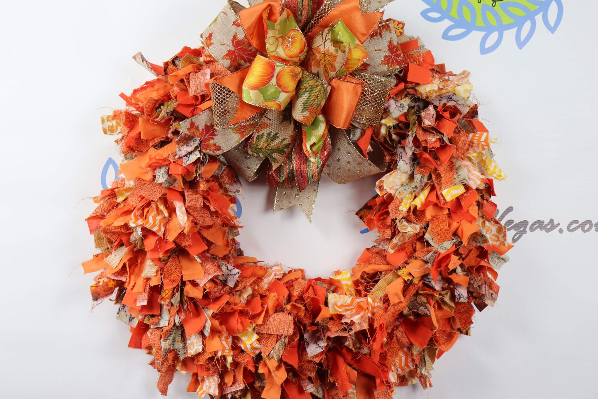 Fall Fabric Rag Wreath Orange Brown
