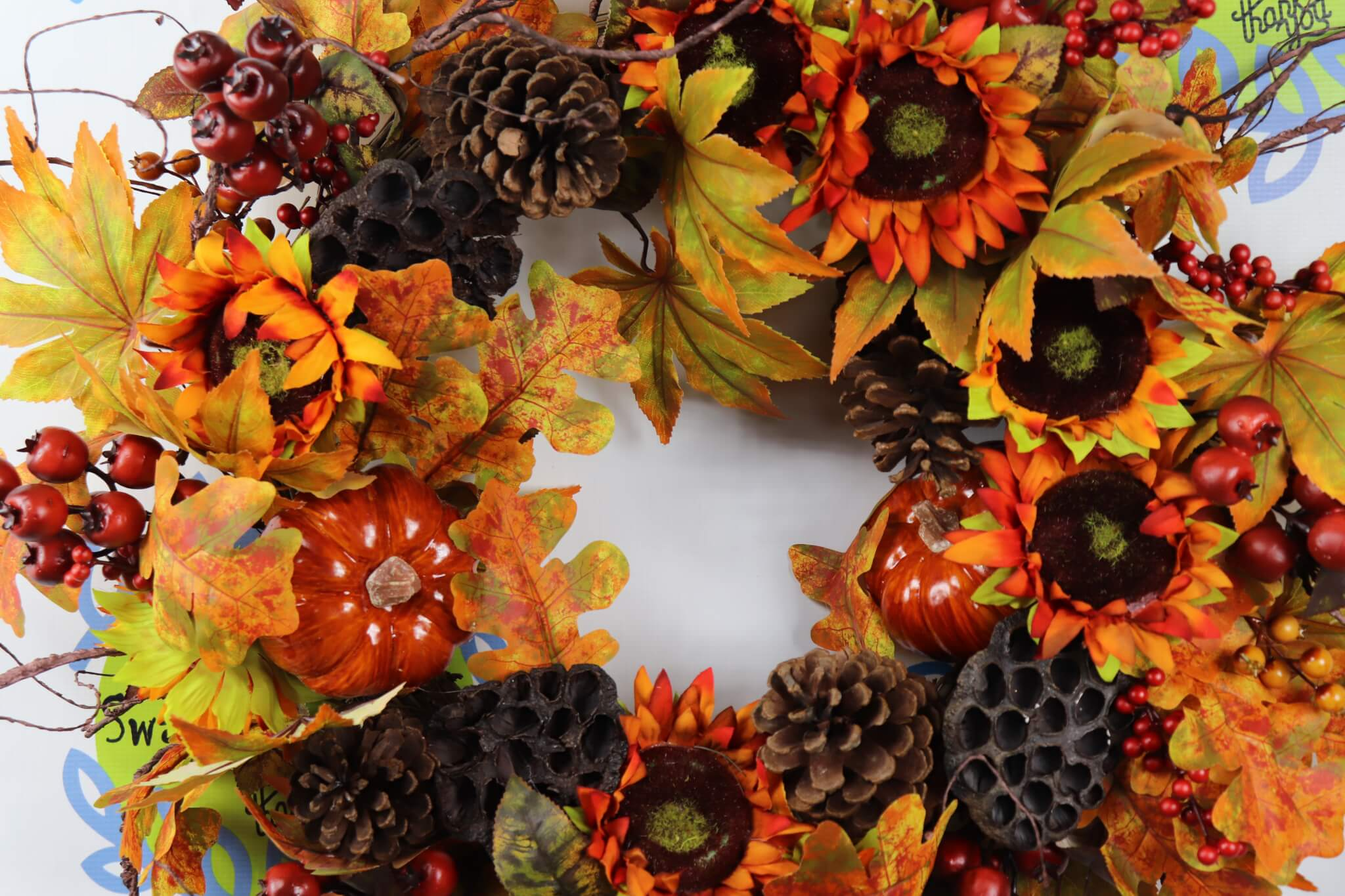 Fall Sunflower XL Wreath Grapevine