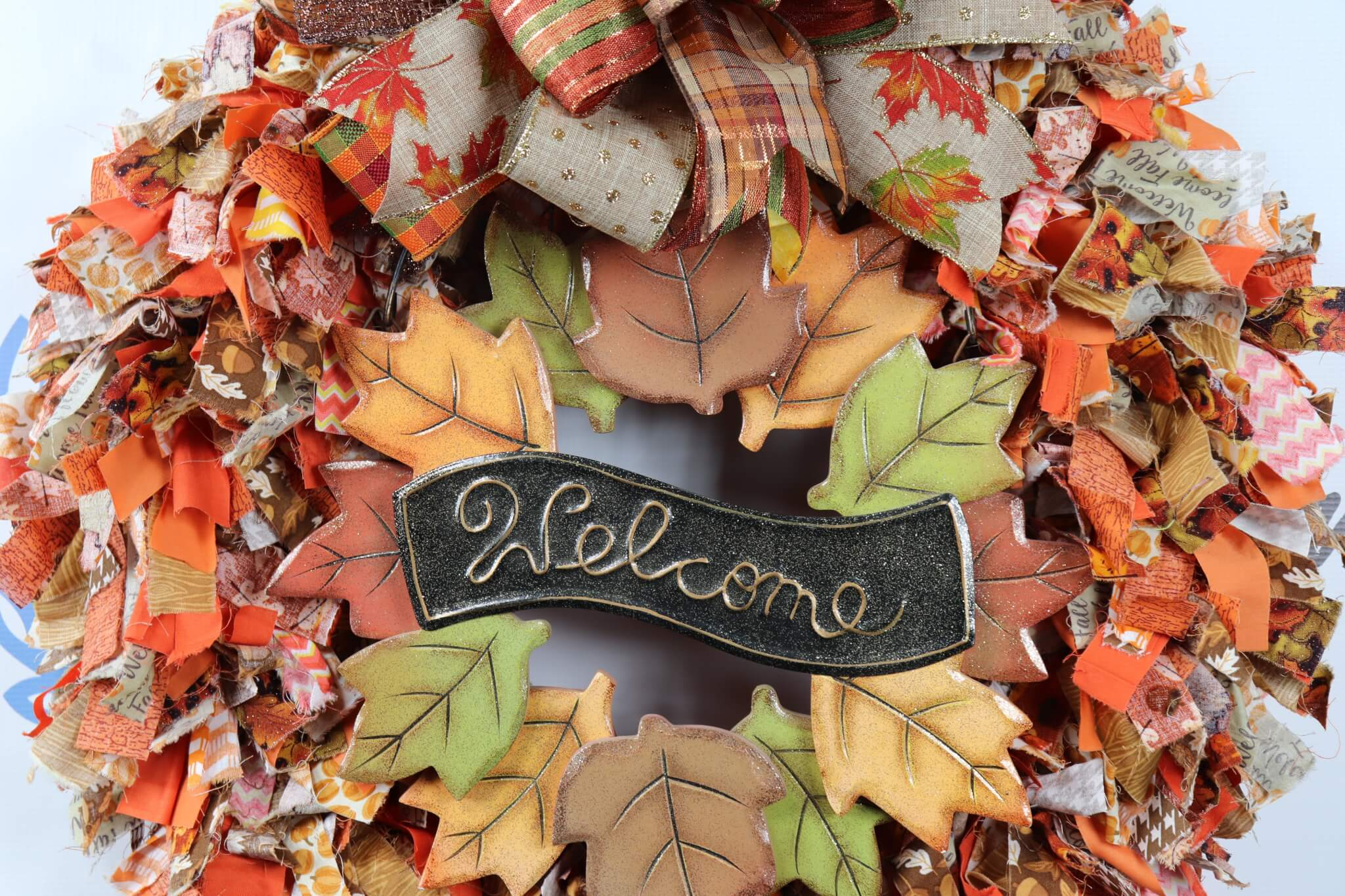 Welcome-FAll-Fabric-Rag-Wreath-6 Welcome Fall Fabric Rag Wreath